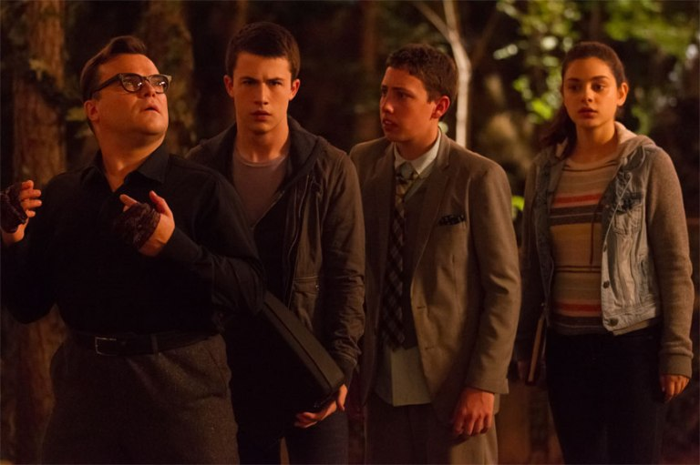 "L-r, Jack Black, Dylan Minnette, Ryan Lee and Odeya Rush star in Columbia Pictures' ""Goosebumps."""